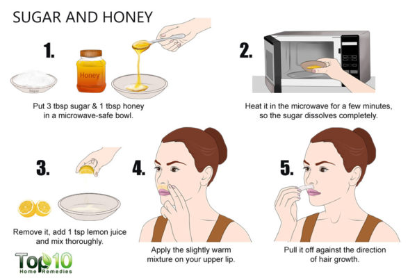 suga and honey mask to remove facial hair
