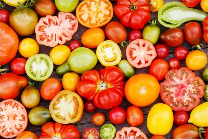 heirloom tomatoes of assorted colors